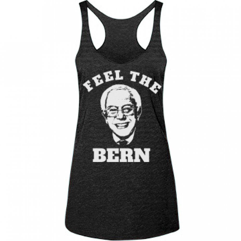 Amazon.com: Feel the Bern Fitness Fun: Junior Fit Racerback Tank Top: Clothing