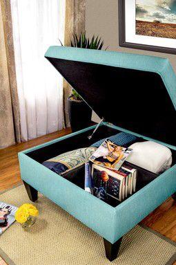 Upholstered Key Largo Teal Square Legged Box Storage Ottoman