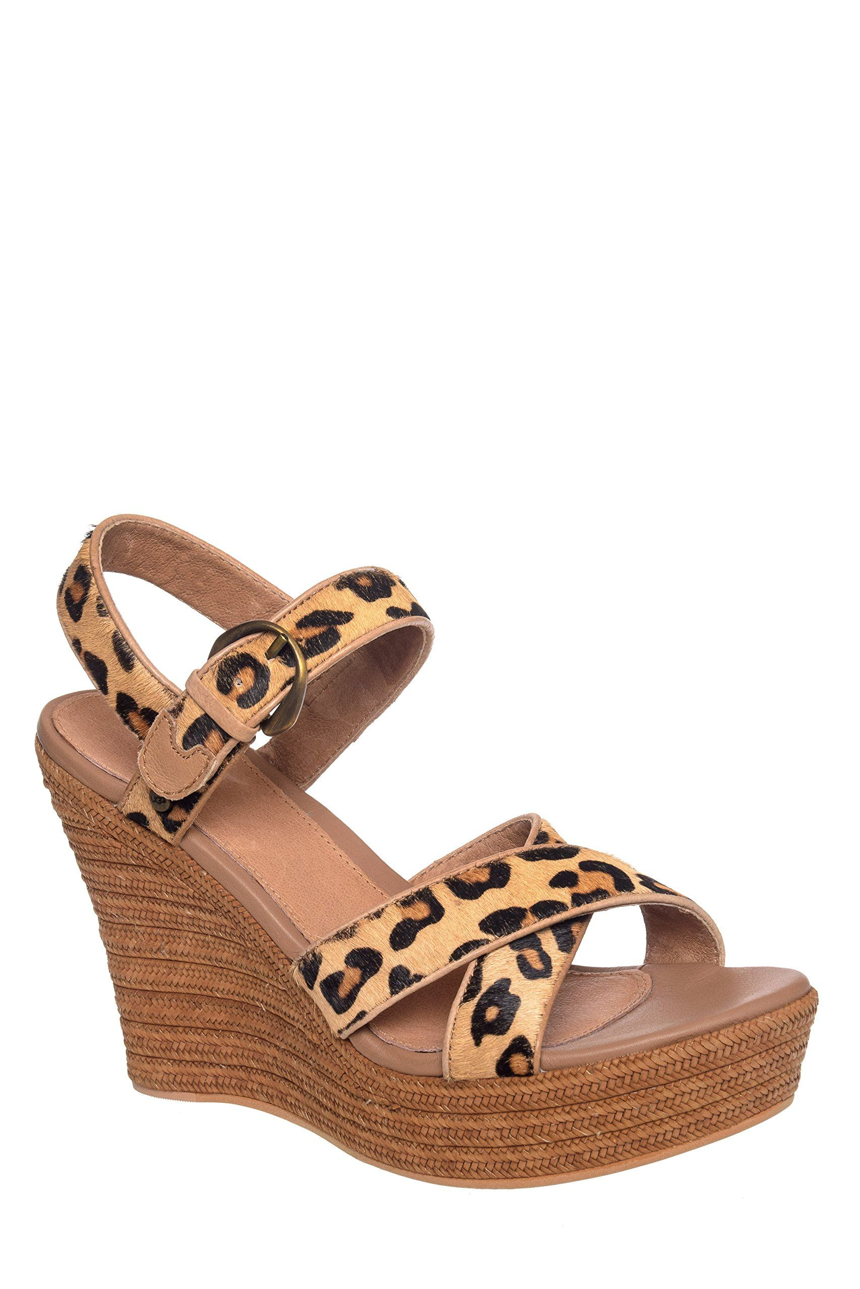 0debe371aea UGG Australia Womens Jazmine Calf Hair Leopard Chestnut Leopard Wedge - 9.  leather. animal-print. rubber-sole. open-toe. ankle-strap.