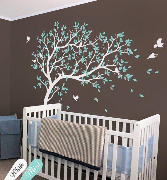 5db866b3870d Full Corner Tree Wall Sticker Nursery Kids Room Wall Decor Set Of Two  Corner Tree Vinyl Wall Decal Birds And Leaves Mural AY1341