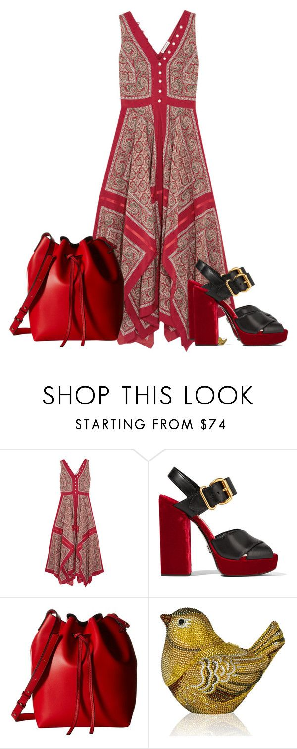 """Untitled #1743"" by cardigurl ❤ liked on Polyvore featuring Altuzarra, Prada, Gabriella Rocha and Judith Leiber"