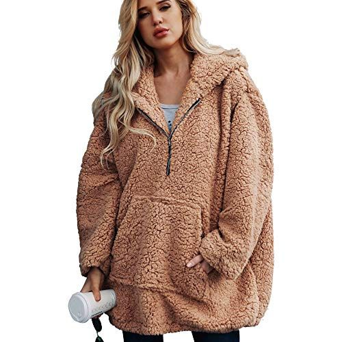 Winter Coats for Women Libermall Womens Fashion Long Sleeve Solid Zip Faux Shearling Oversized Coat Jacket with Pockets