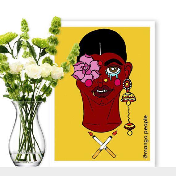 Brave Indian Girl Print Illustration | Wall Decor, Art Illustration ...