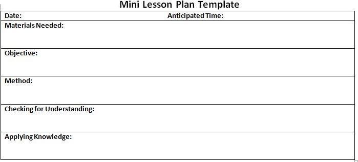 mini lesson plan template school project pinterest lesson plan
