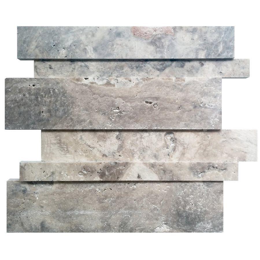 avenzo 12in x 12in linear silver travertine mosaic wall tile loweu0027s