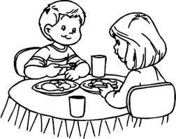 Dibujos Para Colorear De Una Familia Comiendo Dibujos De Una Cena En