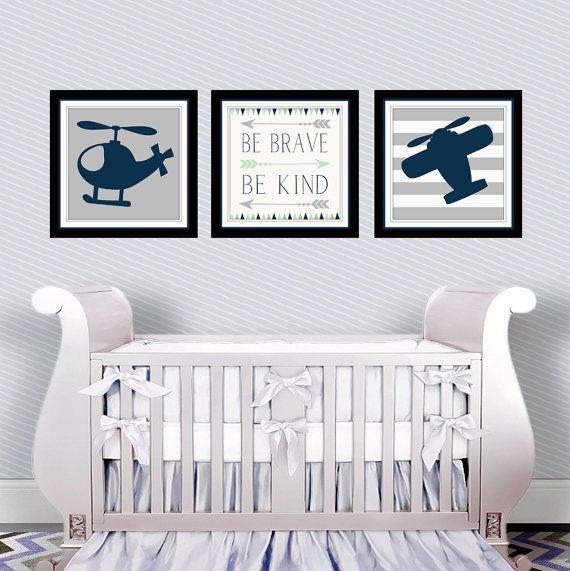 Fantastisch Aviation Nursery Decor   Baby Boy Nursery   Boys Aviation Wall Art   Be  Brave Be Kind   Airplane Print   Helicopter Print   Three Piece Set