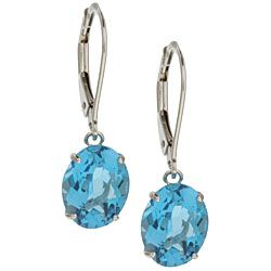 Kabella 14k White Gold Oval Blue Topaz Leverback Earrings | Overstock.com Shopping - The Best Deals on Gemstone Earrings