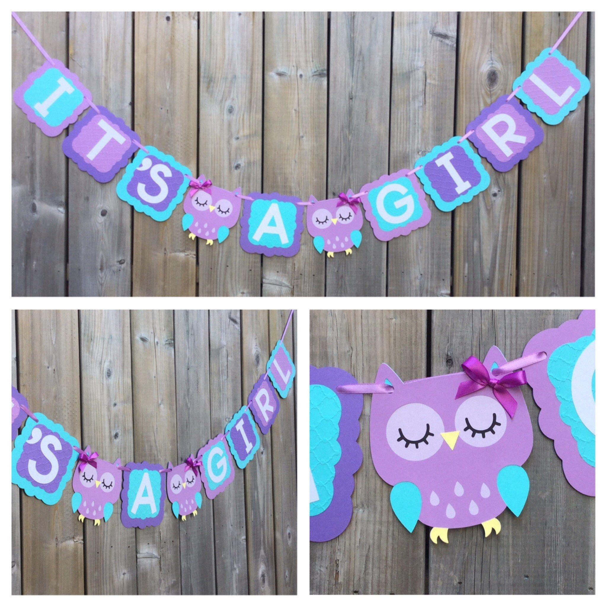 Owl Banner, ITu0027S A GIRL Banner, Purple Blue Owl Banner, Blue Purple Owl  Banner, Baby Shower Decoration, Owl Baby Shower Banner