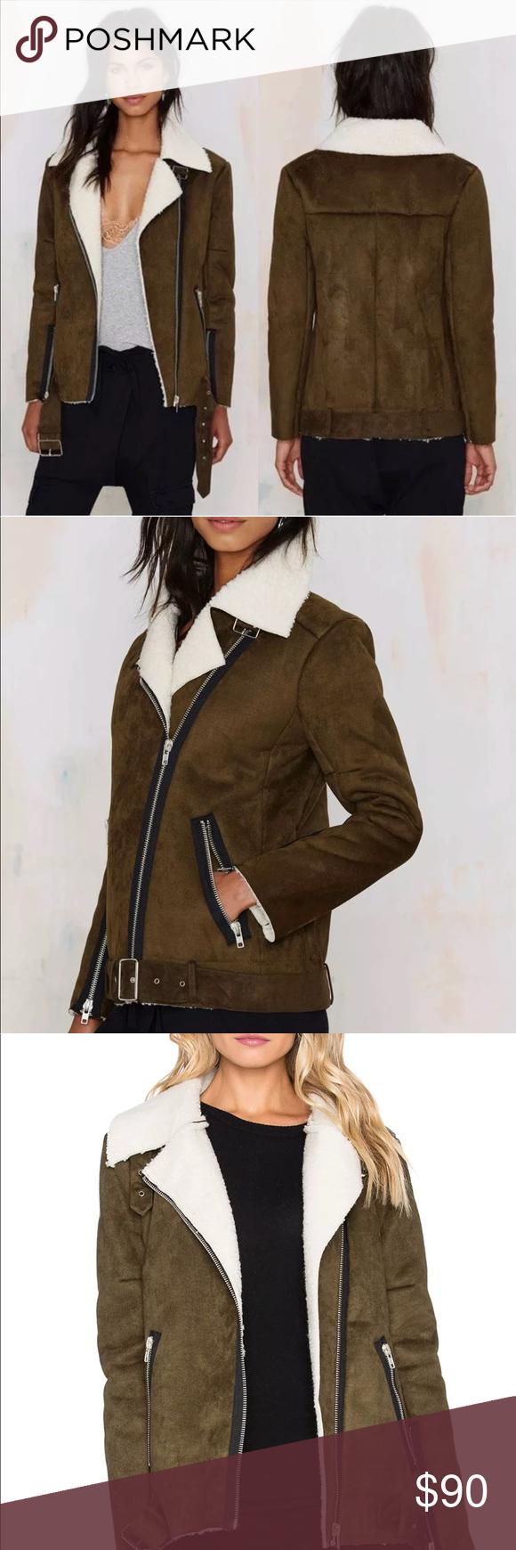 J.O.A Sherpa Moto Zip Jacket in Olive XS A glamorous J.O