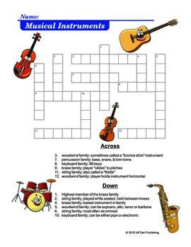 Musical Instruments Crossword Puzzle | angol