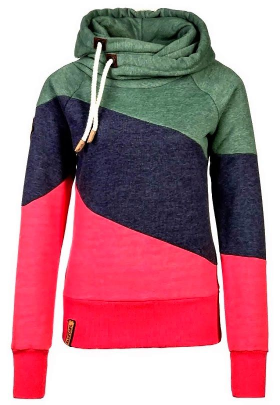 e12e27a2965 The Vogue Fashion  Tri-Color Naketano Comfy Hoodie.  19.96 Casual Color  Block Long Sleeves Hoodie For Women Comfy Hoodies