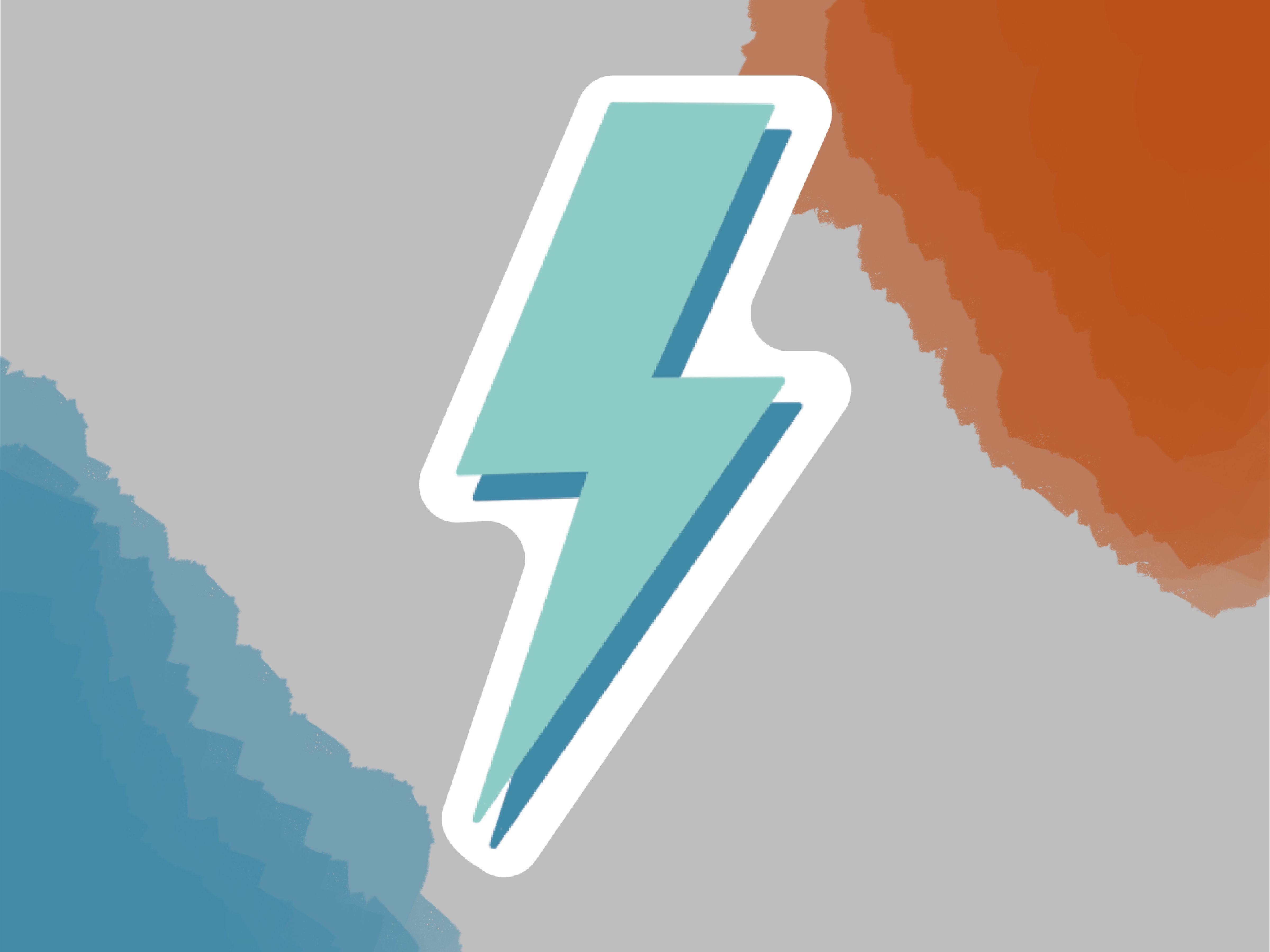Two Tone Lightning Bolt Sticker Lightning Bolt Glossy Paper Lightning