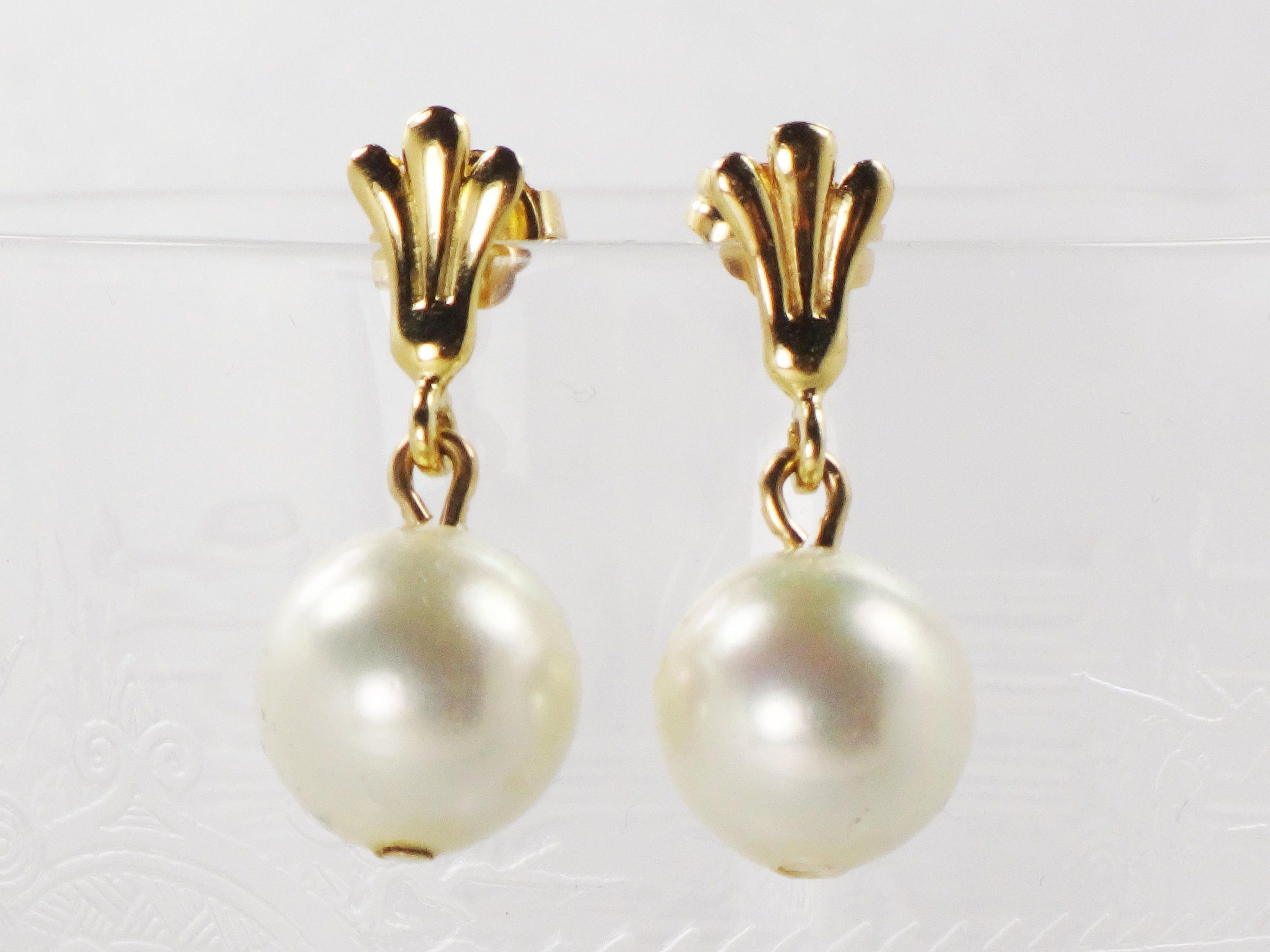 53775506d09af Vintage 14k Gold Imitation Pearl Earrings 14k Yellow Gold Dangle ...