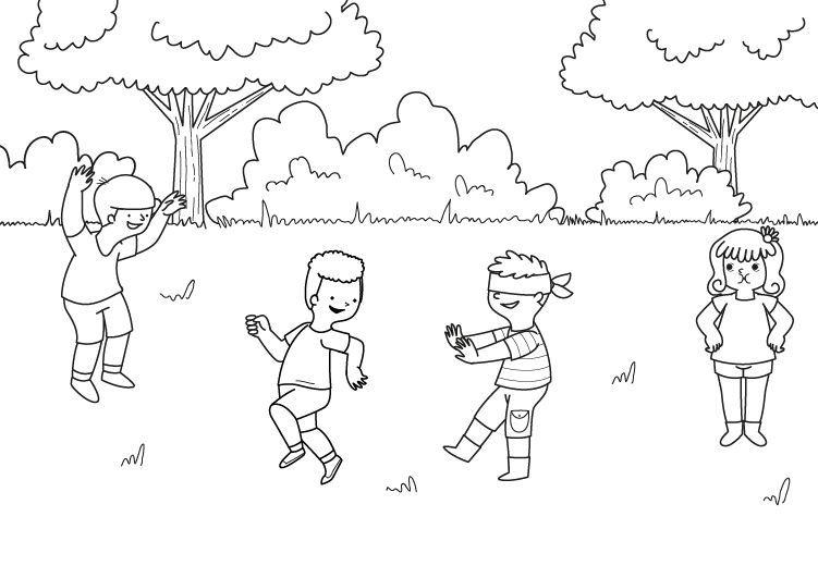 Gallinita Ciega Dibujo Para Colorear E Imprimir Proyecto Juegos