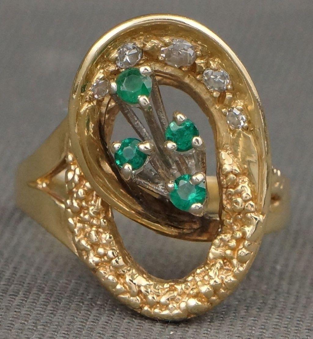 14K Gold Custom  Vintage Emerald/Diamond Ring~$585.00