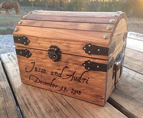 Engraved Wooden Card and Memory Chest - Rustic Wedding Card Chest ...