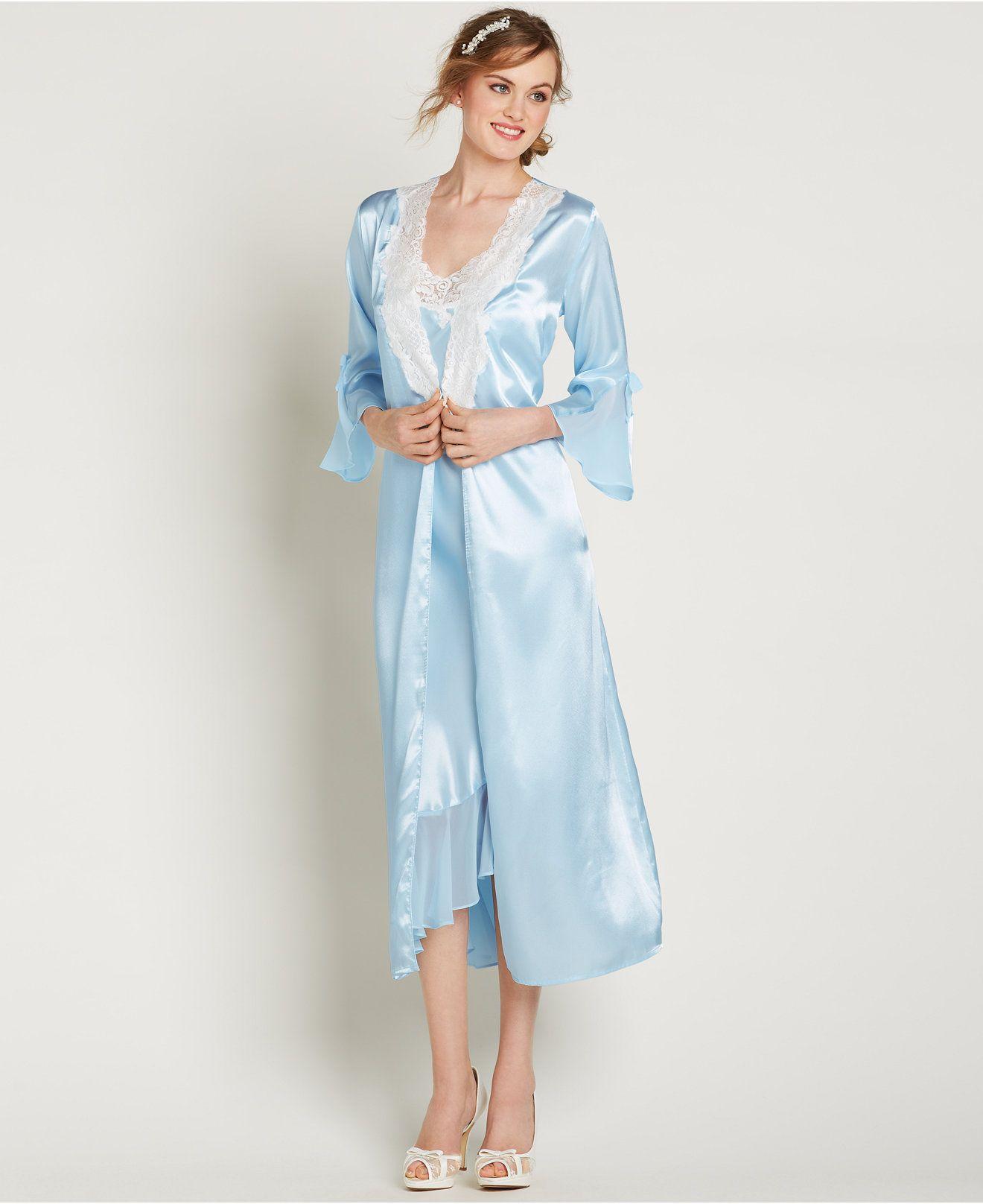 8ffa6952e8  74.00 Oscar de La Renta Pink Label Satin Always a Bride Long Gown and Robe  - Shop All Pajamas   Robes - Women - Macy s