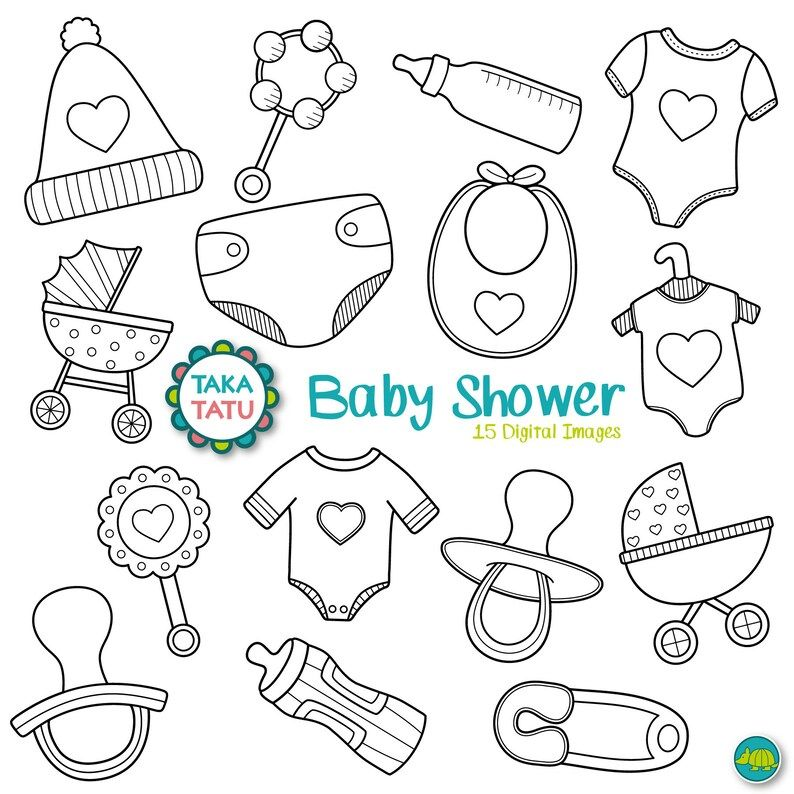 Baby Shower Digital Stamp Pack Black And White Clipart Etsy Baby Clip Art Digital Stamps Doodle Baby