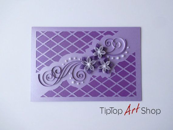 Handmade quilling card with 3d paper flowers in lilac blank wedding handmade quilling card with 3d paper flowers in lilac blank wedding greeting card m4hsunfo