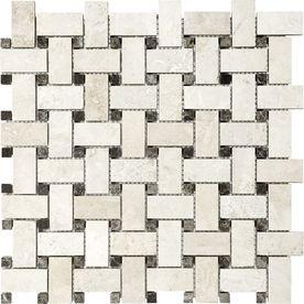 Ivory Travertine Natural Stone Mosaic Basketweave Wall Tile