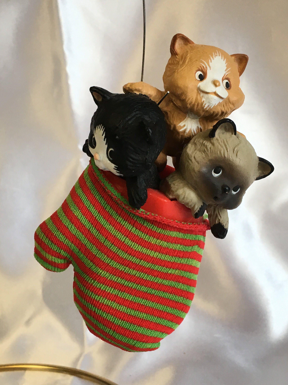 Vintage 1984 Hallmark Ornament Three Kittens In A Mitten With Etsy Hallmark Ornaments Mitten Ornaments Cat Ornament