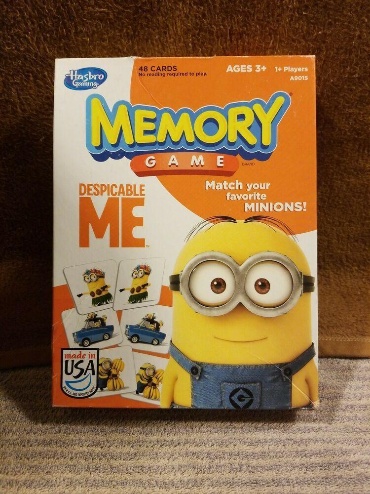 Hasbro memory match board kids game despicable me minions