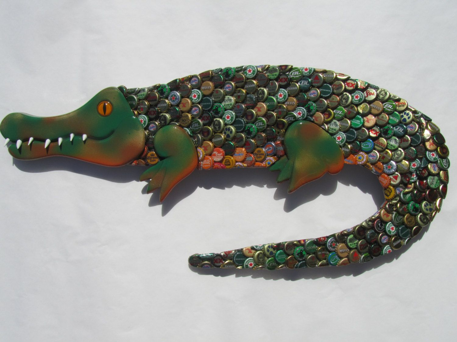 Bottle Cap Wall Art alligator bottle cap metal wall art gator | diy bottle, cap and bottle