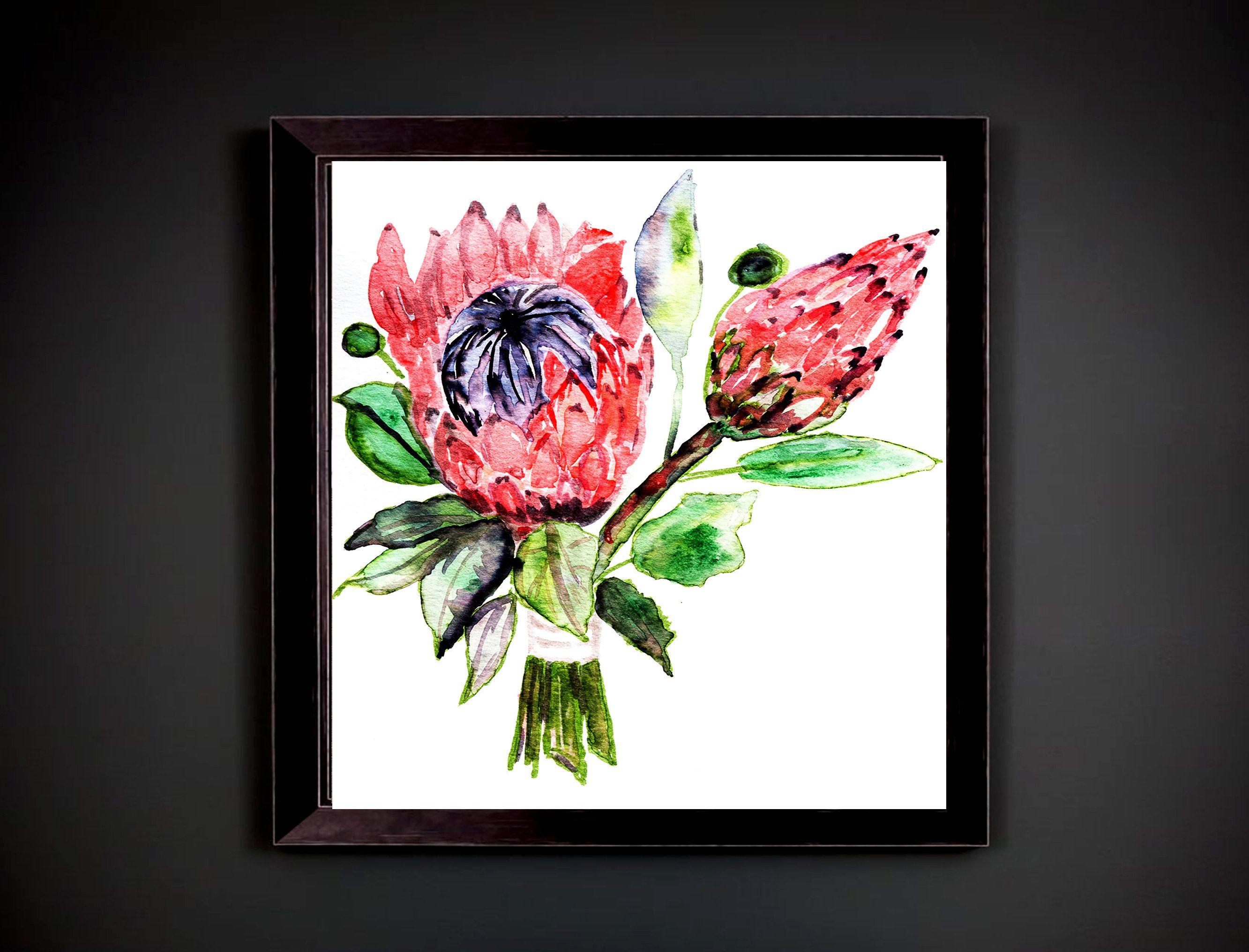 Protea illustration,Paper Anniversary Gift bride bouquet