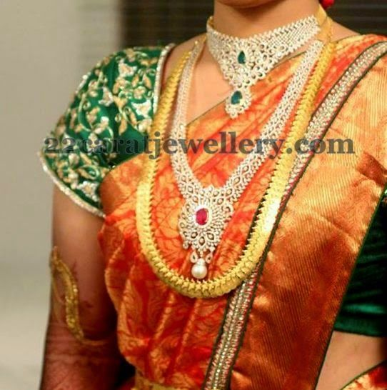 Jewellery Designs: Kasulaperu and Diamond Mala Designs