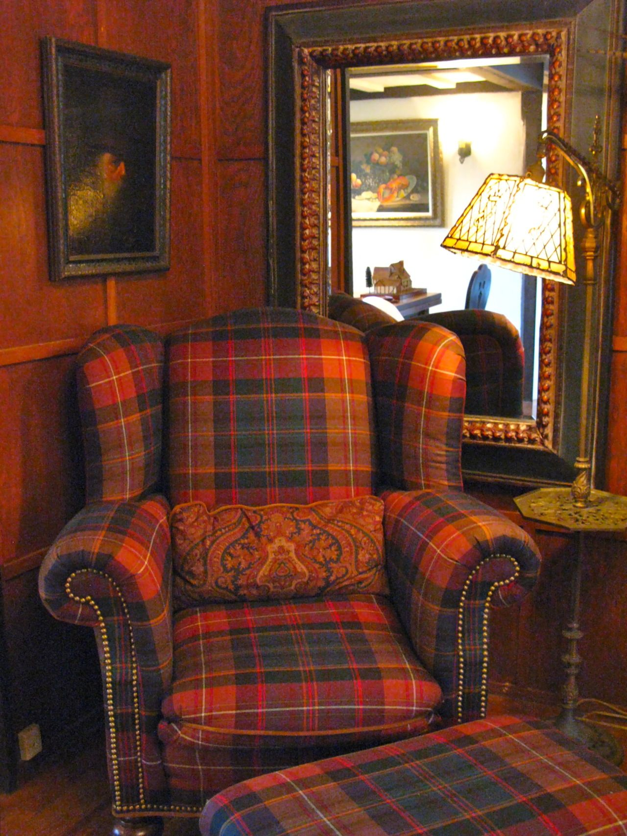 Plush Red Plaid Armchair With Rolled Arms, Stud Details And Matching Ottoman