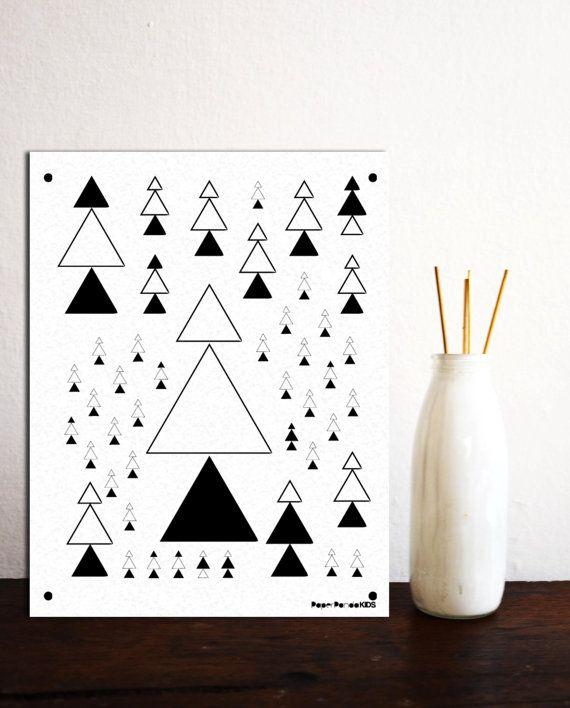 Pine Tree Tribal Print Woodland Nursery Decor by paperpandaKIDS, $1.00