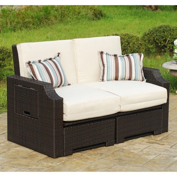 Wicker And Polyester Convertible Outdoor Sofa Chaise Lounger   Overstock™  Shopping   Big Discounts On Sofas, Chairs U0026 Sectionals