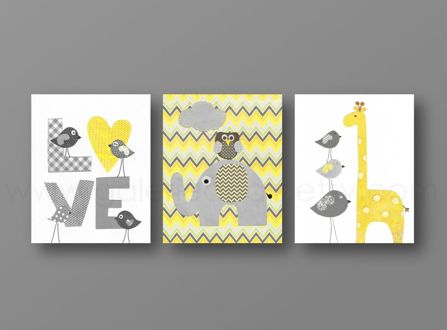 lot de 3 illustrations pour chambre d 39 enfant et jaune et gris chevron anais chevron et pour. Black Bedroom Furniture Sets. Home Design Ideas