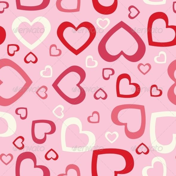 Abstract Hearts Seamless Background. Vector Illustration