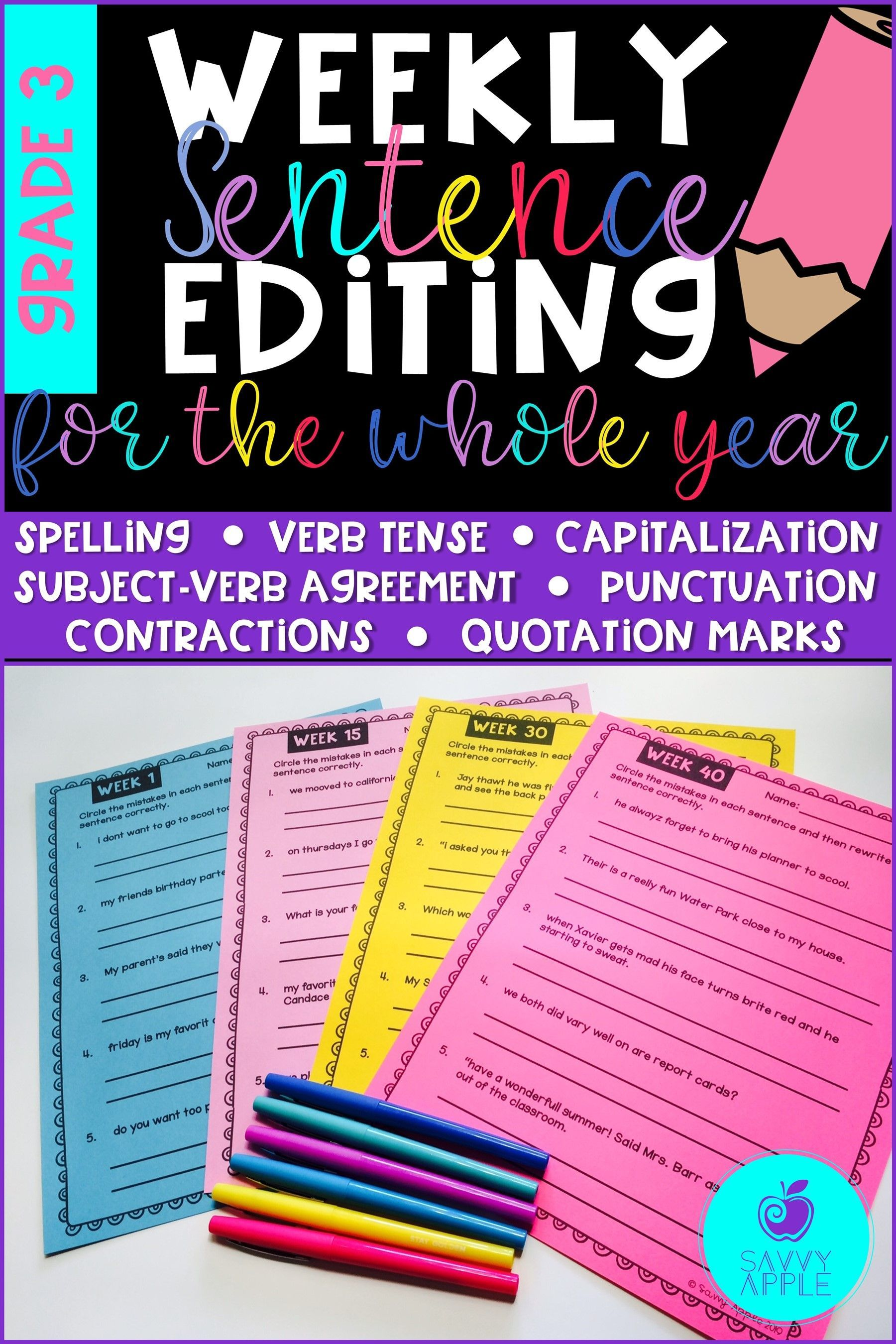 Weekly Sentence Editing For The Whole Year