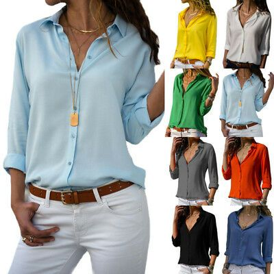 US Women Long Sleeve Blouse Loose Tops Ladies V Neck Casual Office Work OL Shirt #fashion #clothing #shoes #accessories #women #womensclothing (ebay link)