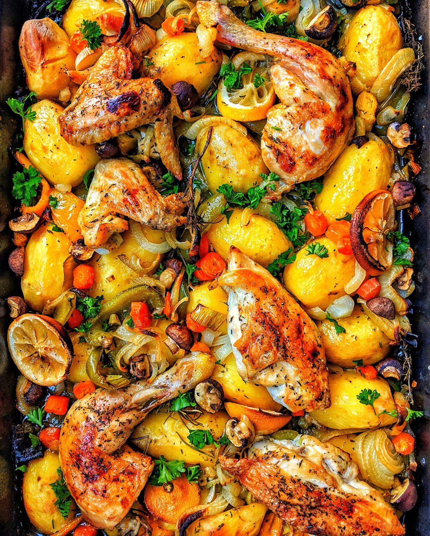 Hähnchen aus dem Ofen mit Kartoffeln und buntem Gemüse #kartoffelnofen