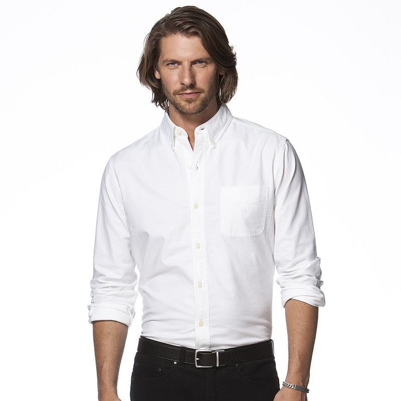 Men s Chaps Classic-Fit Stretch Oxford Tattersall Button-Down Shirt ... 8a4ac869e0d3f