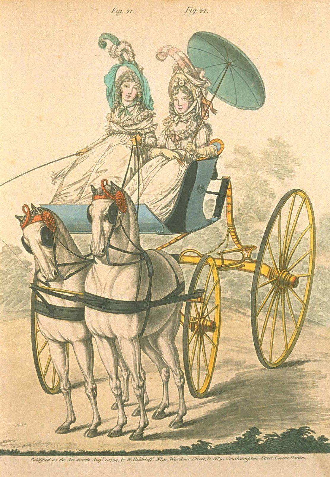 Ladies driving their phaeton and ponies. Heideloff'f gallery of fashion, 1794