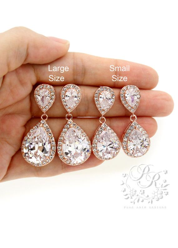 Wedding Earrings Rose Gold plated Teardrop Zirconia Earrings Wedding