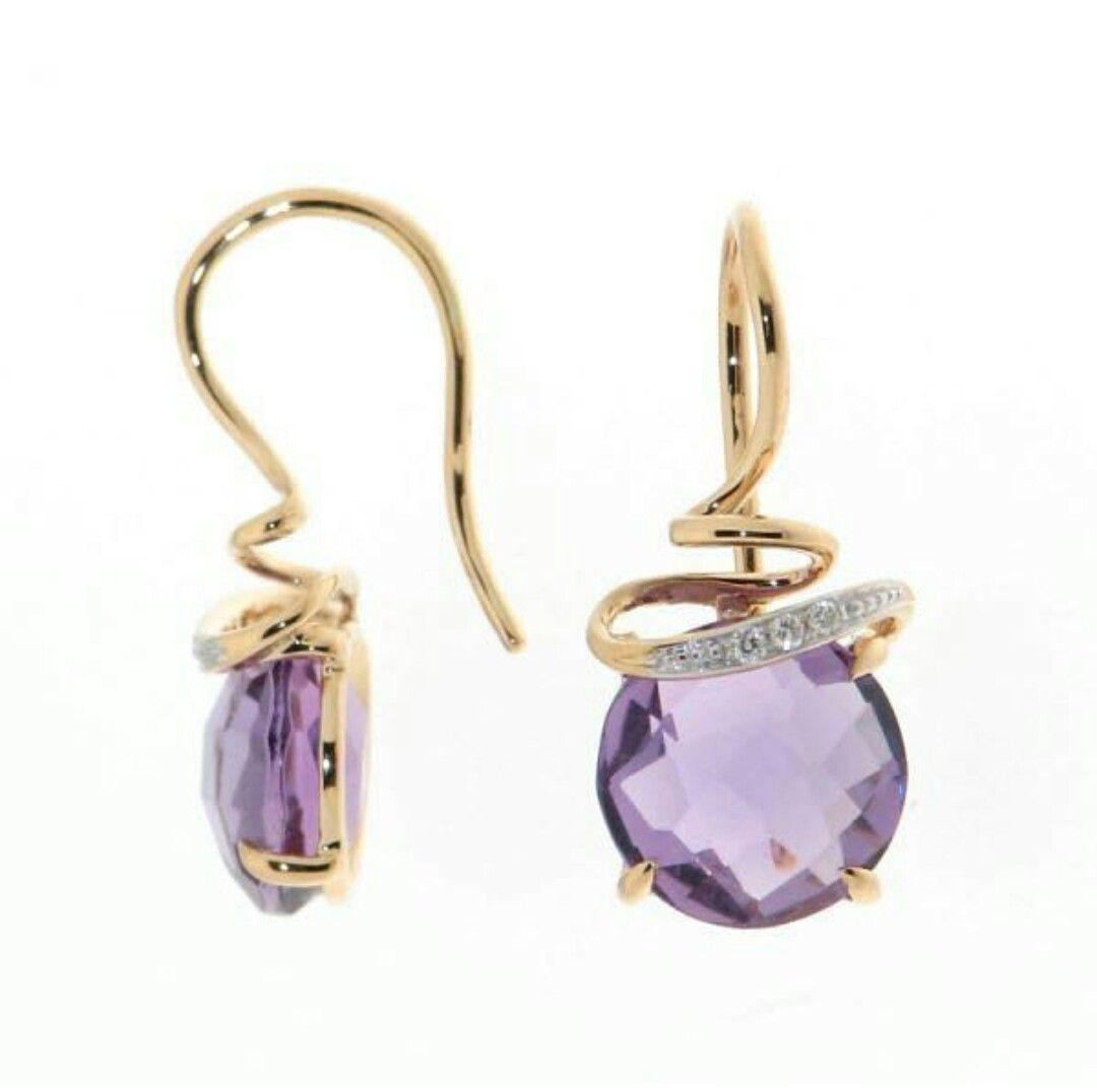 Women/'s Fashion Jewelry Silver Hoop Pendentif Cristal Violet Pierre précieuse Boucles d/'oreilles