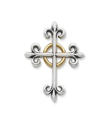 An elegant and enduring symbol of faith, this distinctive sterling silver and 14k gold cross design features the classic fleur-del-lis motif at each tip. #jamesavery