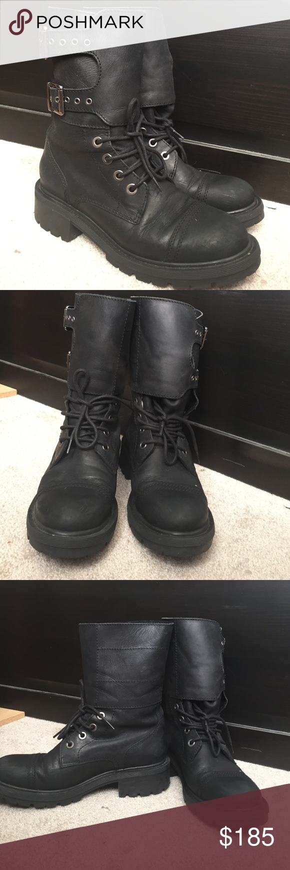 All saints black delphie boots Black leather all saints delphie boots. Industrial type bottom. EU size 38, US size 7.5, UK size 5. The reason the dispatch says Evelyn is because the shipping can go through Amazon if you want so I did it on my mothers Amazon acct which has free two days shipping (because prime) All Saints Shoes Combat & Moto Boots