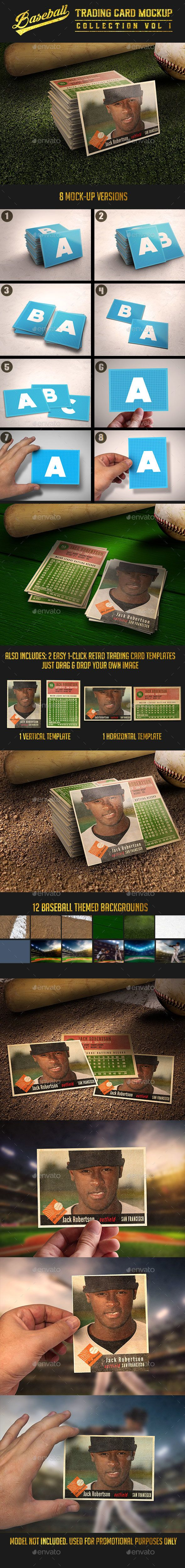 Baseball Trading Card MockUp Collection V  Mock Up Psd