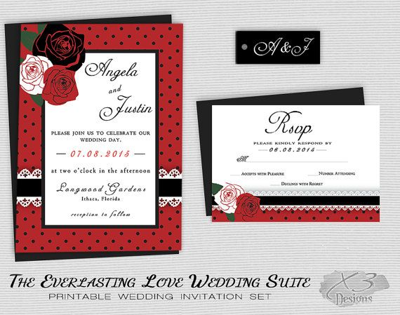 rockabilly wedding invitation set printable rustic wedding