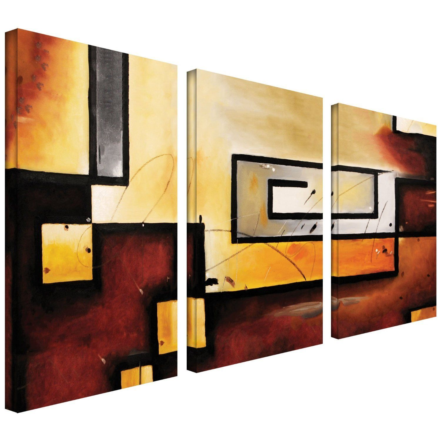 Art Wall 3-Piece Abstract Modern Gallery Wrapped Canvas Art by Jim ...