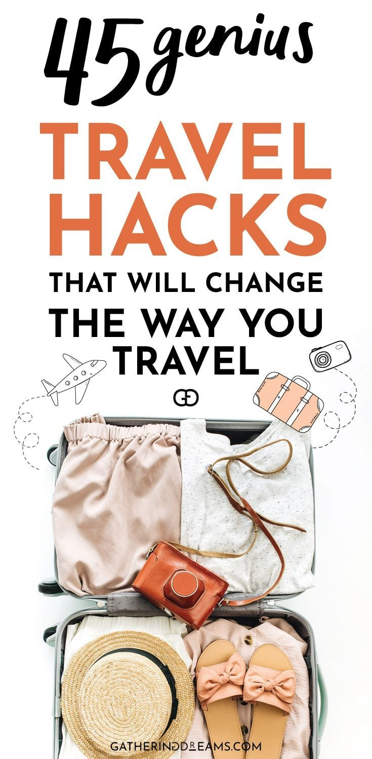 45 epic travel hacks for a stress-free holiday. These travel tips will save you money, time, and space! Try them and you won't be able to stop using them! #traveltips #packingtips #travelhacks #travel