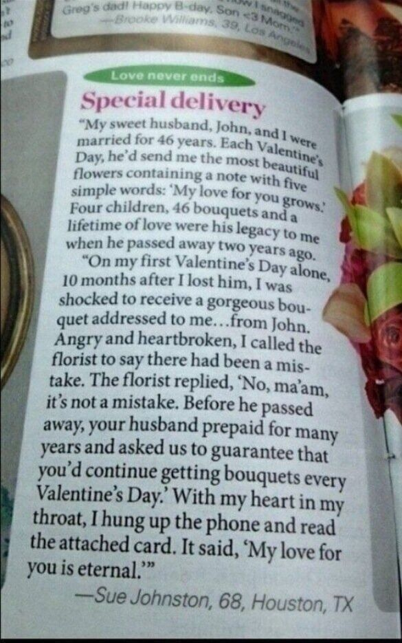 Romantic old man sends his love to his widow after he dies...