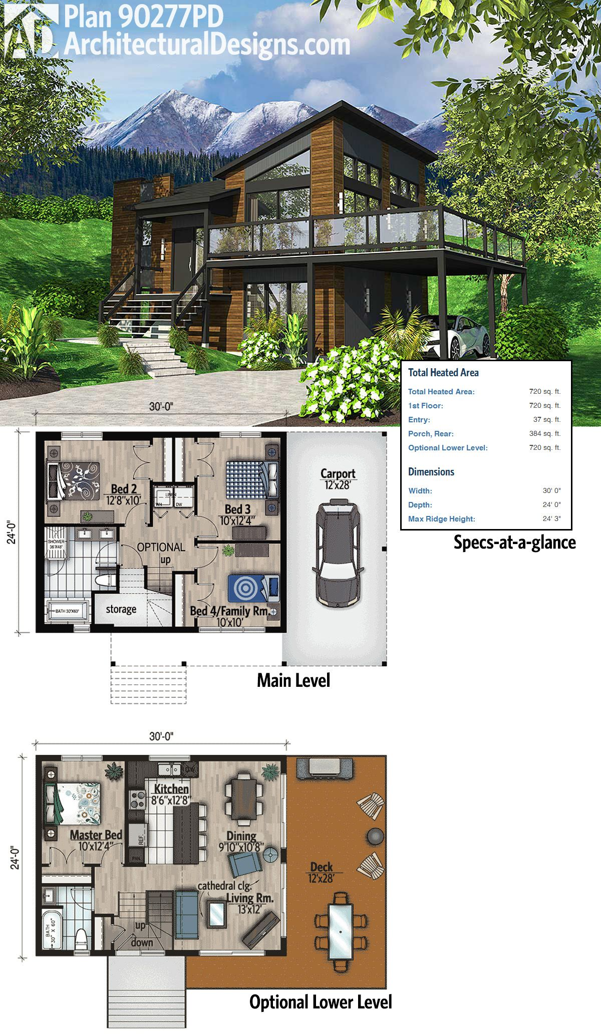 Plan 90277PD: Exciting Contemporary House Plan | Modern ...